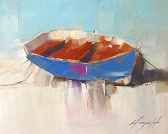Rowboat, Oil painting, Impressionism, handmade artwork, One of a kind
