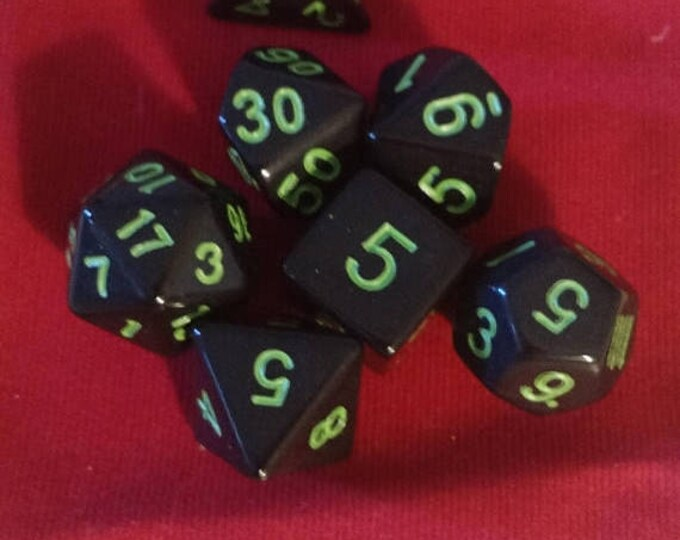 Retrocon Sale - Green on Midnight - 7 Die Polyhedral Set with Pouch