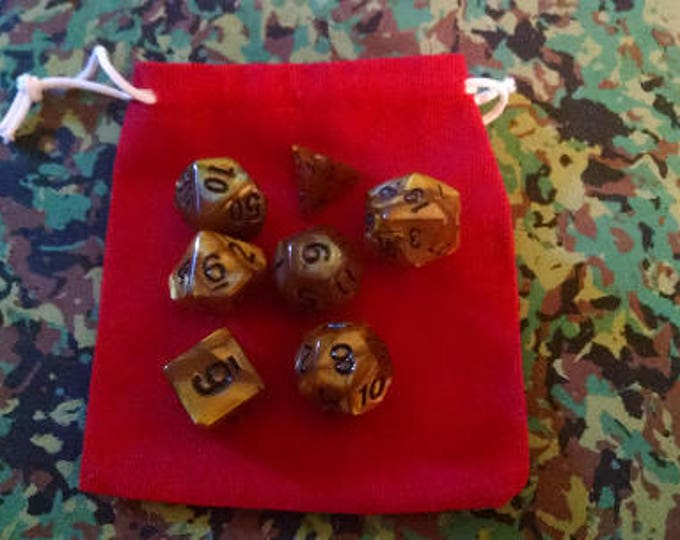 Amber Resin - 7 Die Polyhedral Set with Pouch