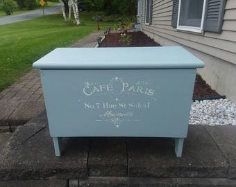 Storage Bench * Shabby Chic French Stenciled Blue Bench with Flip Top and Storage