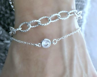 925 sterling silver chain Bracelet Specialty Chain Bracelet Silver Bracelet Silver Jewelry Oval Chain Silver layering bracelets  Gift