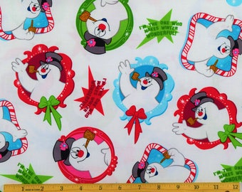 Frosty the Snowman Fabric Frosty Patch Toss with Quotes Fabric in White From Quilting Treasures 100% Cotton