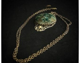 Vintage Alcohol Ink Pendant, Vintage Jewelry, Vintage necklace, alcohol ink necklace, Green Alcohol Ink Pendant
