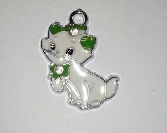 1 X cat Daisy white-green enamel 25mm