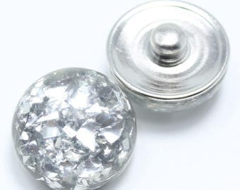 Silver domed resin snap button