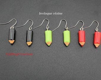 Small pencil resin earrings