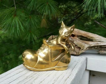 Solid Brass Cat in Boot Vintage Home Decor