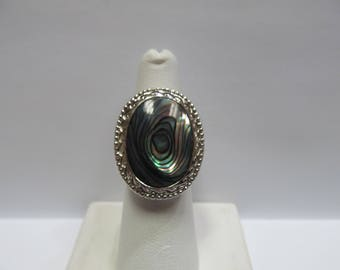 925 Silver Abalone Shell Ring W #232