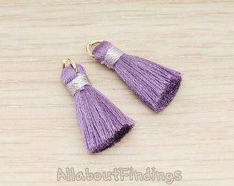 PDT1261-PU // Purple Silk Gold Oring and Silk Band Tassel Pendant, 2 Pc
