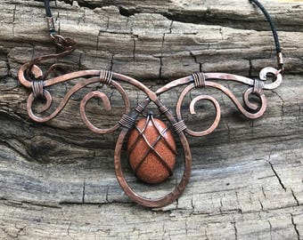 Hammered Copper and Goldstone Necklace