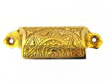 Solid Brass Bin Pull Antique Hardware replica Victorian vintage style Eastlake