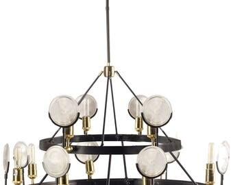 Two Tier Gas Light Lense Chandelier with Light House Magnifying Round Ribbed Glass Circle