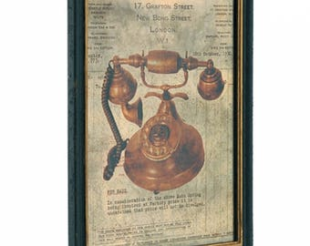 Artwork Framed Antique Telephone Wooden Frame Wholesale Discount Old Vintage