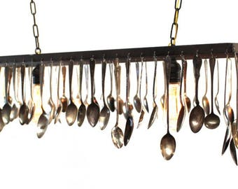 Antique Silver Spoons Turned into Chandelier Ceiling Fixture Custom Made & Sizes