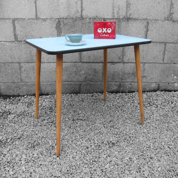 Blue Formica Kitchen Dining Table Mid Century 1960s Vintage