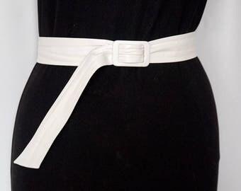 White Genuine Leather Belt, Vintage Emmanuel Waist Cincher, Made in Canada, Ladies' Dress Accessories