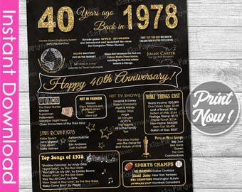 40th Anniversary Gift INSTANT DOWNLOAD, 40th Wedding Anniversary Gift Chalkboard Poster Sign Party PRINTABLE 40 Years Ago Banner 1978 Poster