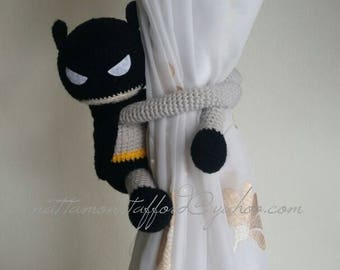 1 Batman Crochet curtain tie back,  Handmade Batman curtain tie back. Nursery tie backs.  MADE TO ORDER***
