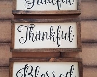 Grateful Thankful Blessed Signs Set of Three