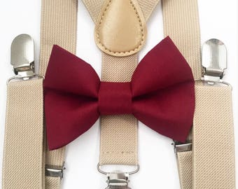 FREE DOMESTIC SHIPPING! Tan suspenders and burgandy bow tie kids children wedding pictures birthday formal family photo