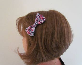 Sky blue, Navy and red floral bow hair clip