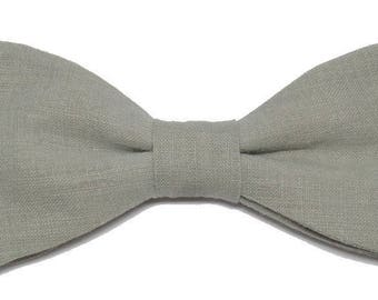 Light green linen bowtie with straight edges
