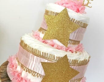 2 Tier Twinkle Twinkle Little Star Diaper Cake, Twinkle Twinkle Little Star Baby Shower Centerpiecd in Pink and Gold