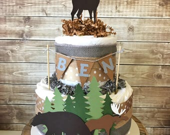 Woodland Baby Shower 2 Tier Diaper Cake, Rustic Hunter Baby Shower Centerpiece