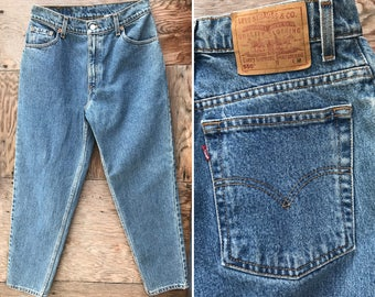 Vintage Levis High Waist Relaxed Fit Tapered Leg Denim Jeans -  30 waist 28 Inseam
