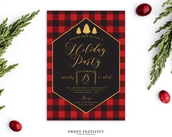 Buffalo Check Holiday Party Invitation, Christmas Invitation, Christmas Party Invitation, Holiday Invitation, Printable, Red & Black Plaid