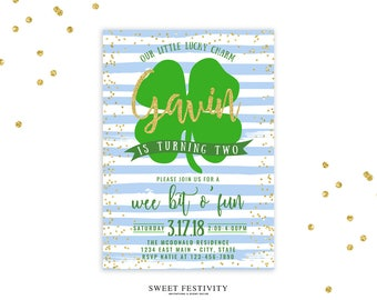 Lucky Charm Invitation, Shamrock Invitation, St. Patrick's Day Invitation, St. Patrick's Day Party, Our Little Lucky Charm, Gold Glitter
