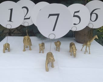 Wedding table number holders gold animal photo card memo holders .