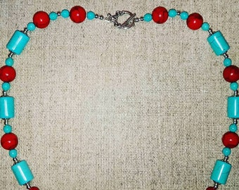 Gemstone Necklace, turquoise and coral necklace, blue and red necklace, gemstone jewelry