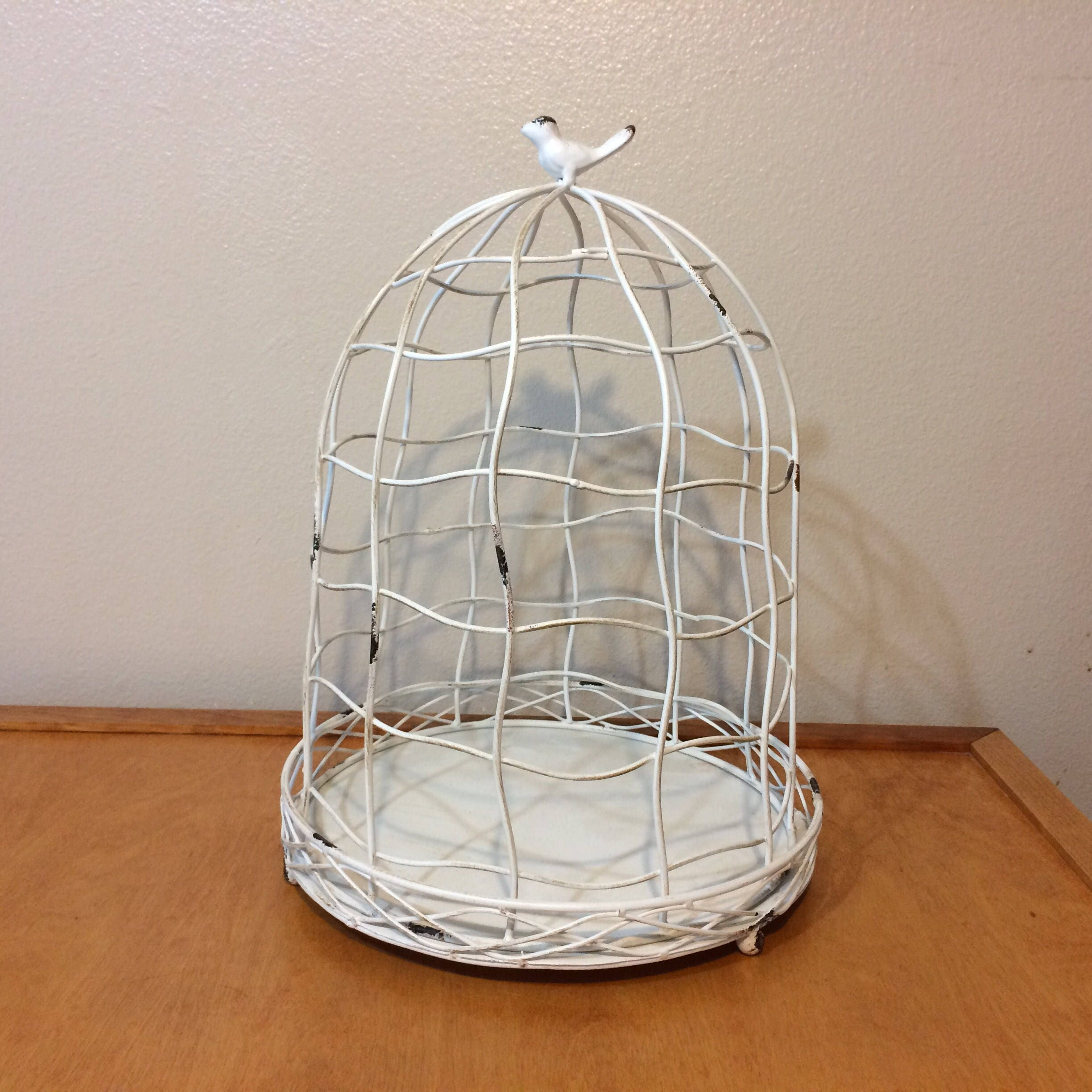 White Metal Wire Bird Cage Vintage Shabby Chic
