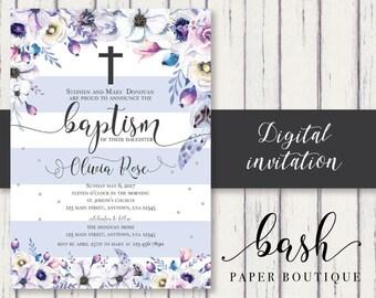 Baptism Invitation Girl Purple Striped Baptism Invitation Cross and Flowers Baptism Invitation
