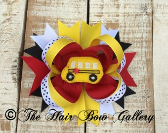 Back to School Hair Bow - School Bus boutique bow - School Hair Bow