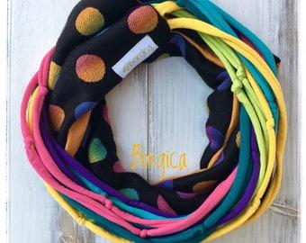 Rainbow polka dots - Lenny Lamb babysling wrap scrap infinity scarf with tshirt yarn  upcycled scarf Bohemian style boho fashion eco style