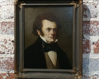 Franz Schubert portrait -19th century Oil Painting -Signed