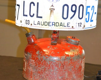 Gas Can Rat Rod Lamp with License Plate Shade