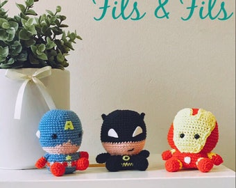 Superhero Amigurumi Batman, Captain America, Iron Man