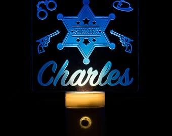 Sheriff Night Light Personalized - Customized Sheriffs Badge Nightlight - Cowboy - Wild West Kids Night Light - Child's Room - Child's Name