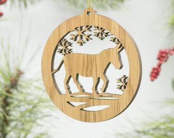 Donkey Christmas Ornament - Donkey Silhouette Laser Cut Wooden Tree Decoration - Mule Ornament - Donkey Ass Jack Jenny - Barnyard Ornament
