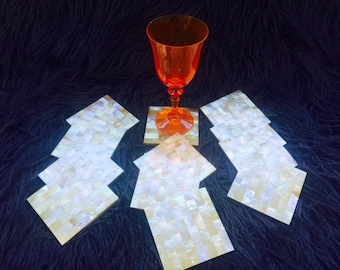 Set of 4 Gorgeous Mother-of-Pearl Coasters with Cork Bottoms.