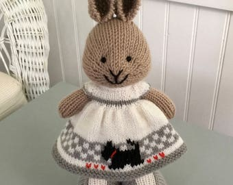 Hand knit, knitted bunnies knitted rabbit, knit bunny, knit rabbit, small, stuffed, small knit stuffed animal, knitted rabbit, scottie