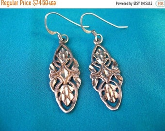 ON SALE Vintage Antique Sterling Silver Celtic Knot Earrings Signed M from Glasgow ca 1880s  Serch Bythol