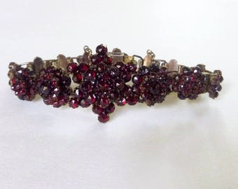 Victorian gold wash bohemian garnet star and rosette sectional bracelet circa 1800s