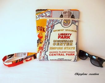 clutch bag with zipper - adjustable strap - Central Park, NYC