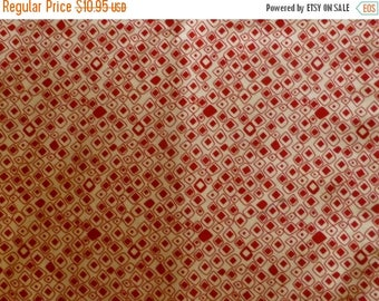 Clearance SALE Red Squares Geometric Fabric, By the Yard, 44/45 inches Wide, Modern, Apparel, Quilting Fabric