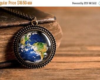 20% OFF Planet Earth pendant, antique brass pendant, glass dome pendant, antique brass necklace, glass necklace, planet Earth necklace