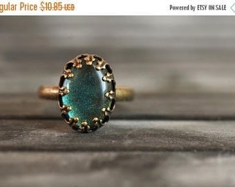 20% OFF Little sea green ring, adjustable ring, statement ring, antique brass ring, glass dome ring, antique bronze ring, oval ring, some ma